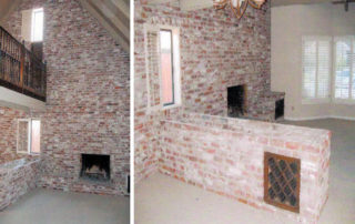 These existing interior views show two small windows with a bridge in-between. A large masonry planter box was severely outdated. The large hearth also needed to be removed to increase the lack of floor space. The vaulted ceiling &. trim were originally covered with old existing paint.